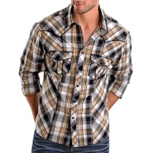 Rock & Roll Cowboy Piped Plaid Shirt - Snap Front, Long Sleeve (For Men) in Black/Yellow/White - Closeouts