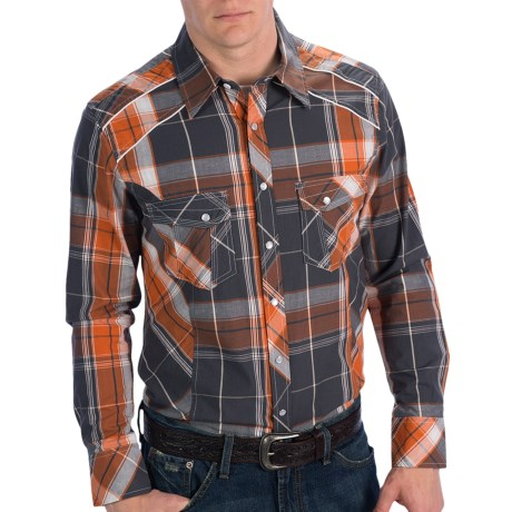 Rock & Roll Cowboy Piping Detail Plaid Shirt - Snap Front, Long Sleeve (For Men) in Grey/Orange