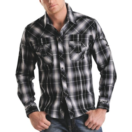 Rock & Roll Cowboy Plaid Cross Applique Western Shirt - Snap Front, Long Sleeve (For Men) in 65 Red
