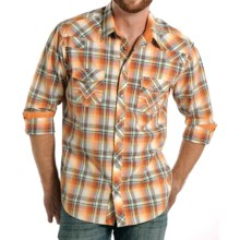 Rock & Roll Cowboy Plaid Shirt - Snap Front, Long Sleeve (For Men) in Orange/Red - Closeouts