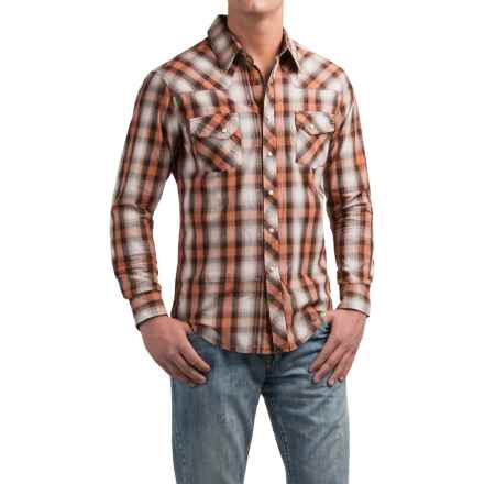 Rock & Roll Cowboy Plaid Stitched Western Shirt - Snap Front, Long Sleeve (For Men) in Brown - Closeouts