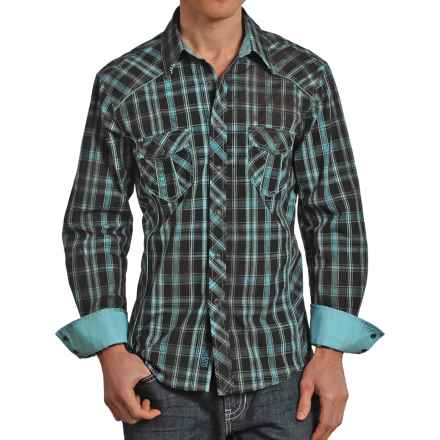 Rock & Roll Cowboy Plaid Stitched Western Shirt - Snap Front, Long Sleeve (For Men) in Turquoise - Closeouts