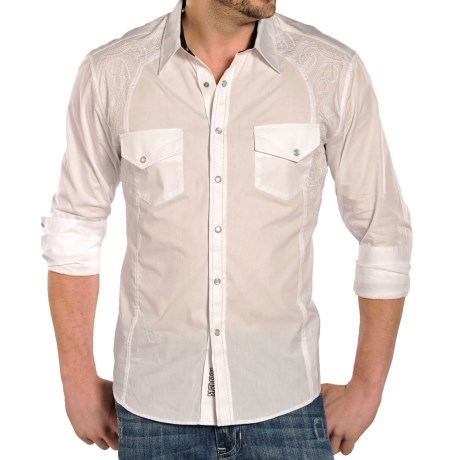 Rock and Roll Cowboy Poplin Bobbin Stitch Shirt Snap Front, Long Sleeve (For Men)