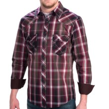 Rock & Roll Cowboy Poplin Plaid Shirt - Heavy Stitching, Long Sleeve (For Men) in Maroon/Charcoal - Closeouts