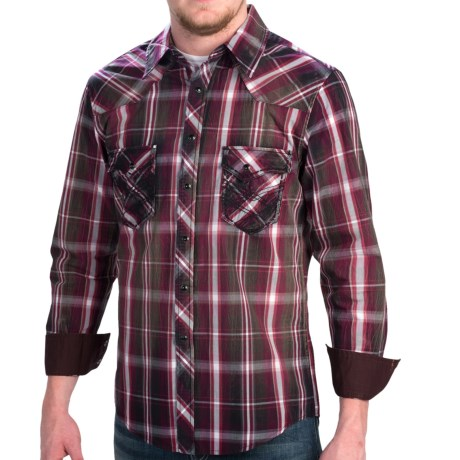 Rock and Roll Cowboy Poplin Plaid Shirt Heavy Stitching, Long Sleeve (For Men)