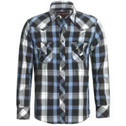 Rock & Roll Cowboy Poplin Plaid Shirt - Heavy Stitching, Long Sleeve (For Men) in Turquoise/Black