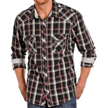 Rock & Roll Cowboy Poplin Plaid Shirt - Snap Front, Long Sleeve (For Men) in Black/Red - Closeouts