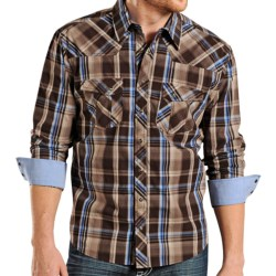 Rock & Roll Cowboy Poplin Plaid Shirt - Snap Front, Long Sleeve (For Men) in Brown/Blue