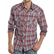 Rock & Roll Cowboy Poplin Plaid Shirt - Snap Front, Long Sleeve (For Men) in Red/Grey - Closeouts