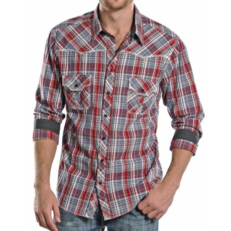 Rock and Roll Cowboy Poplin Plaid Shirt Snap Front, Long Sleeve (For Men)