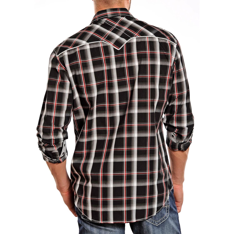 Rock roll cowboy poplin plaid shirt for men 7122g for Long sleeve poplin shirt