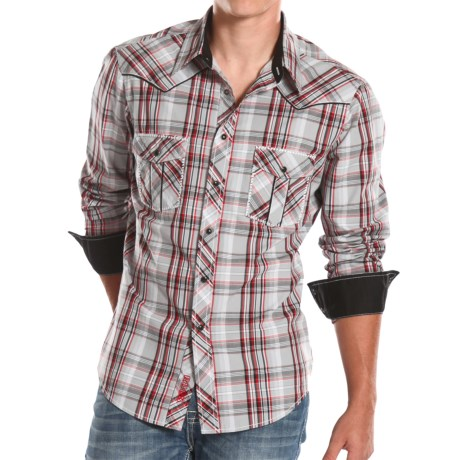 Rock and Roll Cowboy Poplin Plaid Shirt with Embroidery Snap Front, Long Sleeve (For Men)