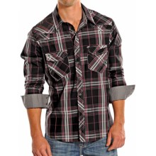 Rock & Roll Cowboy Poplin Plaid Western Shirt - Snap Front, Long Sleeve (For Men) in Red/Black/Charcoal - Closeouts