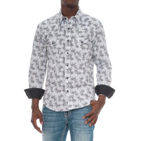 Rock & Roll Cowboy Poplin Print Shirt - Snap Front, Long Sleeve (For Men) in Grey