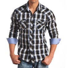 Rock & Roll Cowboy Poplin Print Shirt with Piping - Snap Front, Long Sleeve (For Men) in Blue/Tan - Closeouts
