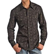 Rock & Roll Cowboy Poplin Print Shirt with Piping - Snap Front, Long Sleeve (For Men) in Brown - Closeouts