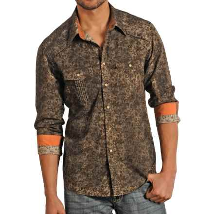 Rock & Roll Cowboy Poplin Printed Shirt - Snap Front, Long Sleeve (For Men) in Brown - Closeouts
