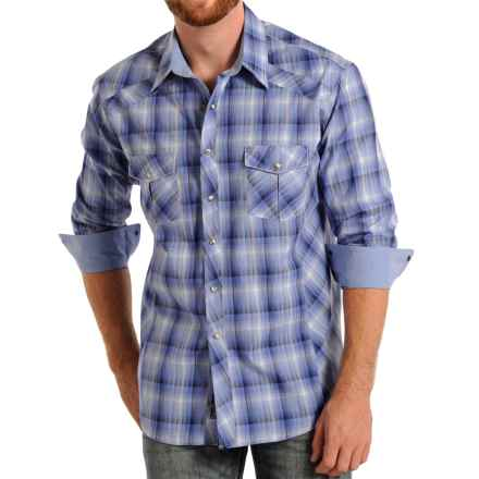 Rock & Roll Cowboy Poplin Printed Shirt - Snap Front, Long Sleeve (For Men) in Light Blue - Closeouts