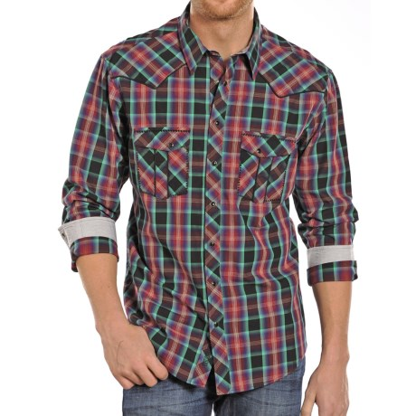 Rock and Roll Cowboy Sateen Plaid with Rail Stitch Shirt Long Sleeve (For Men)