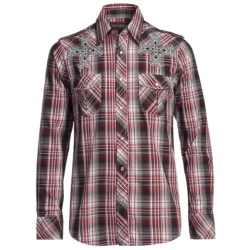 Rock & Roll Cowboy Satin Plaid Cross Shirt - Snap Front, Long Sleeve (For Men) in Red