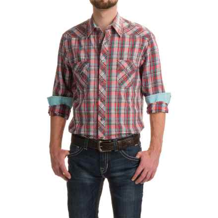 Rock & Roll Cowboy Satin Plaid Shirt - Long Sleeve (For Men) in Red Plaid - Closeouts