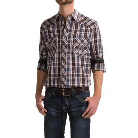 Rock & Roll Cowboy Satin Plaid Western Shirt - Snap Front, Long Sleeve (For Men) in Blue Plaid - Closeouts