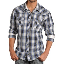Rock & Roll Cowboy Satin Plaid Western Shirt - Snap Front, Long Sleeve (For Men) in Grey/Blue - Closeouts