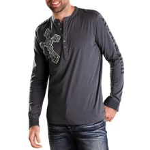 Rock & Roll Cowboy Screenprint Henley Shirt - Long Sleeve (For Men) in Charcoal - Closeouts