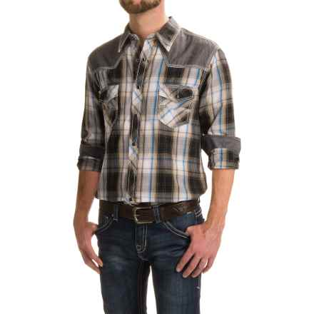 Rock & Roll Cowboy Snow-Washed Western Shirt - Snap Front, Long Sleeve (For Men) in Navy Plaid - Closeouts