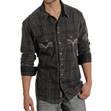 Rock & Roll Cowboy Tonal Plaid Multi-Stitch Shirt - Snap Front, Long Sleeve (For Men) in Black - Closeouts