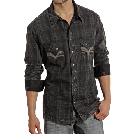 Rock and Roll Cowboy Tonal Plaid Multi Stitch Shirt Snap Front, Long Sleeve (For Men)