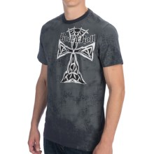 Rock & Roll Cowboy Tribal Cross T-Shirt - Short Sleeve (For Men) in Charcoal - Closeouts