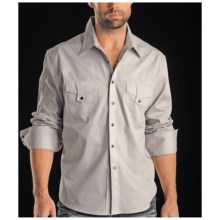 Rock & Roll Cowboy Twill Shirt - Studded Embroidery, Long Sleeve (For Men) in Light Grey - Closeouts