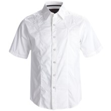 Rock & Roll Cowboy Western Shirt - Cotton Poplin, Snap Front, Short Sleeve (For Men) in White - Closeouts