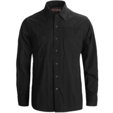 Rock & Roll Cowboy Western Shirt - Satin Dobby Plaid, Snap Front, Long Sleeve (For Men) in Black - Closeouts