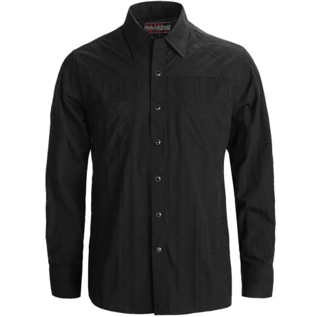 Rock & Roll Cowboy Western Shirt - Satin Dobby Plaid, Snap Front, Long Sleeve (For Men) in Black