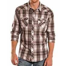 Rock & Roll Cowboy X-Stitch Plaid Shirt - Snap Front, Long Sleeve (For Men) in Brown/Tan - Closeouts