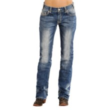 Rock & Roll Cowgirl Abstract Boyfriend Jeans - Bootcut (For Women) in Medium Vintage Wash - Closeouts