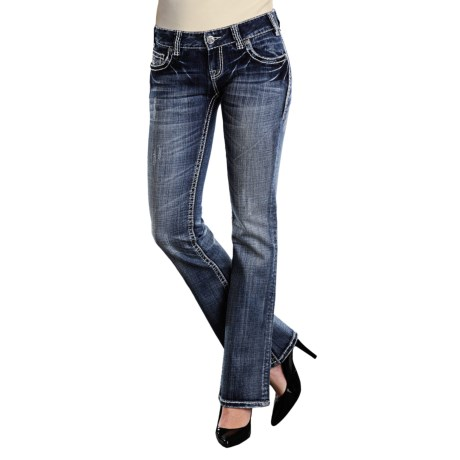 """Rock & Roll Cowgirl Abstract Embroidered """"V"""" Jeans - Low Rise, Bootcut (For Women) in Dark Wash"""