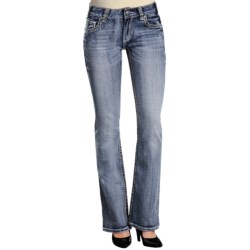 "Rock & Roll Cowgirl Abstract Embroidered ""V"" Jeans - Mid Rise, Bootcut (For Women) in Light Wash"
