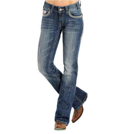 Rock & Roll Cowgirl Abstract Embroidered Jeans - Mid Rise, Bootcut, Faux-Flap Pockets (For Women) in Medium Vintage Wash - Overstock