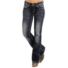 Rock & Roll Cowgirl Abstract Embroidered Jeans - Mid Rise, Bootcut (For Women) in Dark Vintage Wash - Closeouts