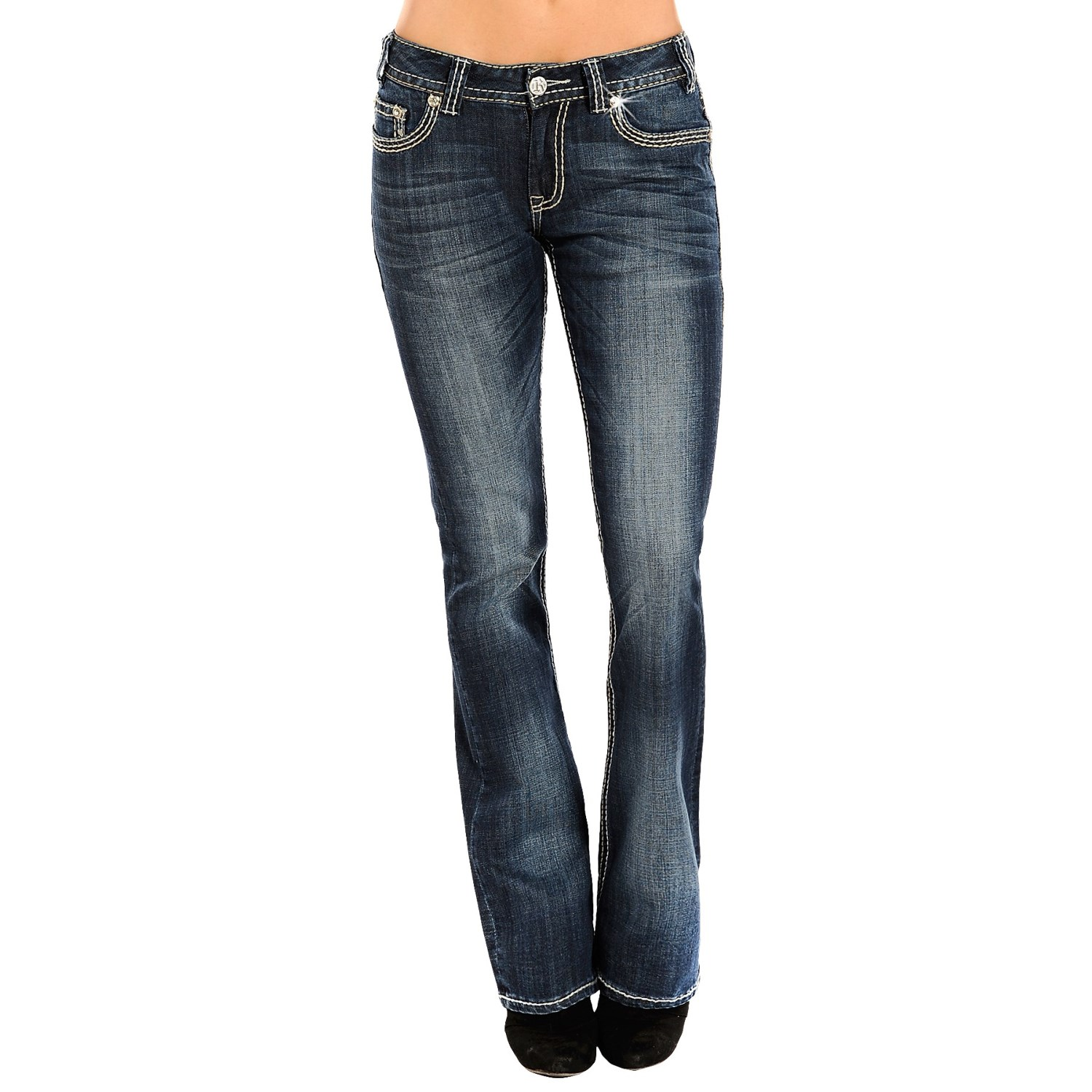 Rock roll cowgirl abstract embroidered jeans mid rise