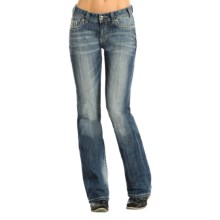 Rock & Roll Cowgirl Abstract Embroidered Jeans - Mid Rise, Bootcut (For Women) in Light Vintage Wash - Overstock
