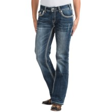 Rock & Roll Cowgirl Abstract Embroidered Jeans - Mid Rise, Bootcut (For Women) in Medium Vintage Wash - Closeouts