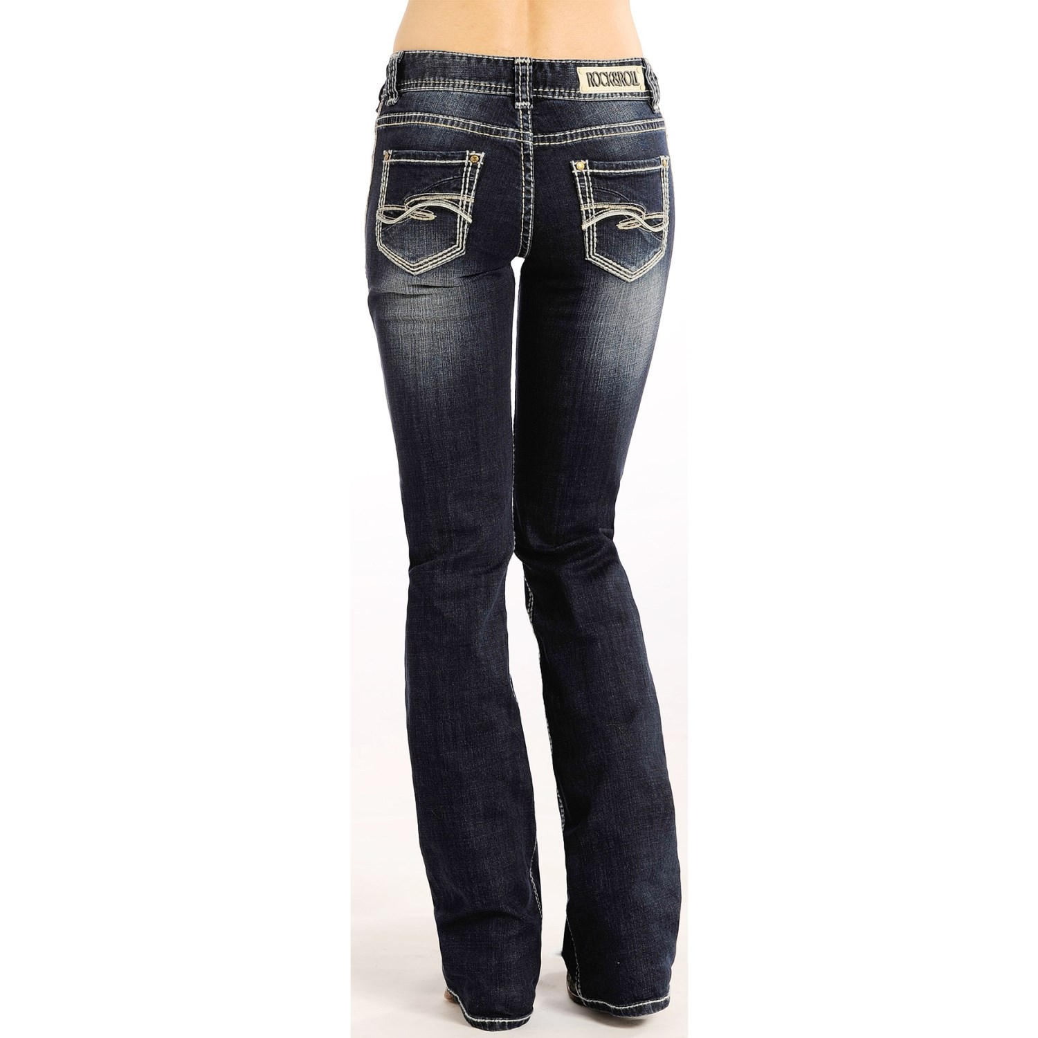 Rock roll cowgirl abstract embroidered jeans for women