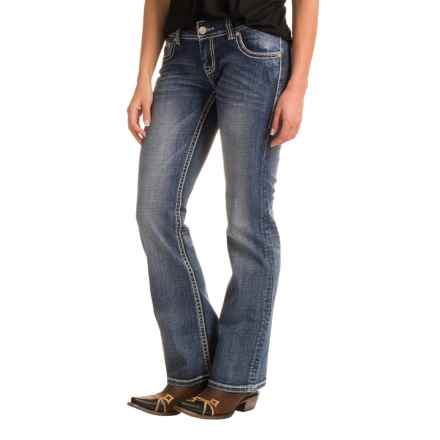 Rock & Roll Cowgirl Abstract Leather Back Pocket Detail Jeans - Low Rise, Bootcut (For Women) in Medium Vintage - Closeouts