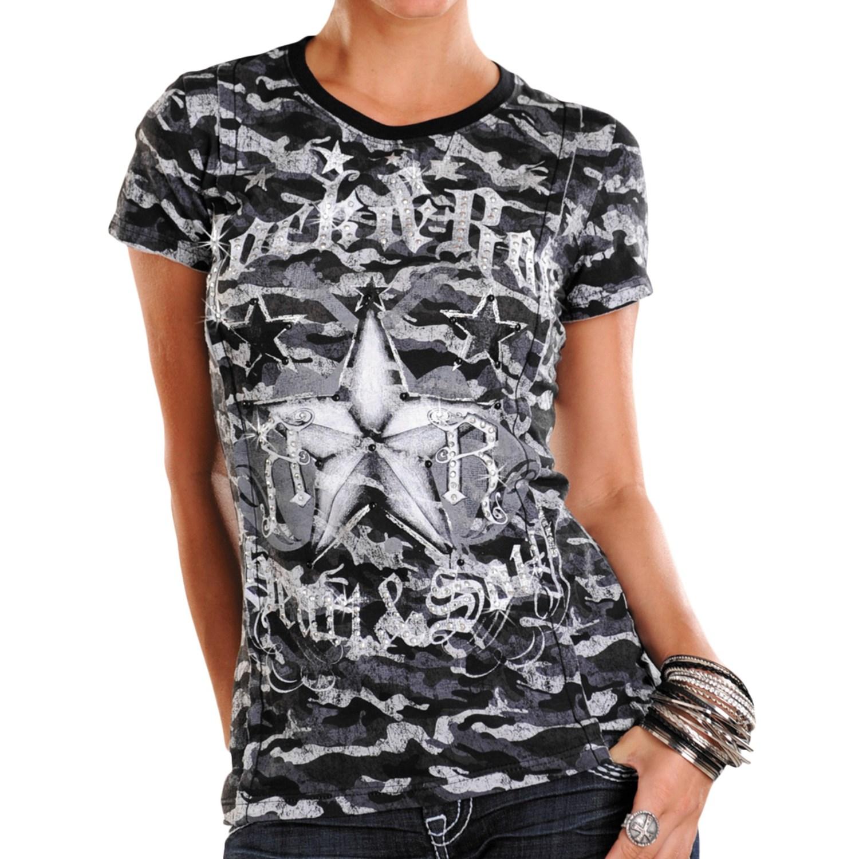Rock roll cowgirl allover print raw edge t shirt short for Raw edge t shirt women s