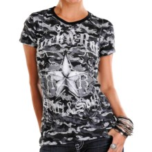 Rock & Roll Cowgirl Allover Print Raw-Edge T-Shirt - Short Sleeve (For Women) in Charcoal - Closeouts