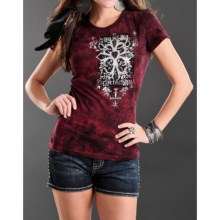 Rock & Roll Cowgirl Allover Tie-Dye Applique T-Shirt - Short Sleeve (For Women) in Deep Red - Closeouts